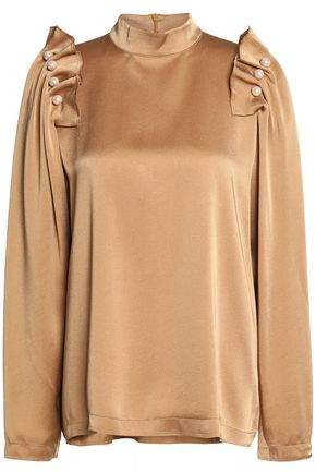 Mother of Pearl Faux Pearl-Embellished Ruffled Satin-Crepe Blouse