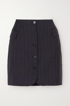 Acne Studios Pinstriped Wool Mini Skirt - Navy