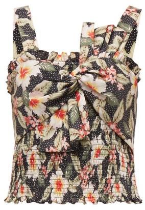 Rebecca Taylor Kamea Shirred Floral-print Cotton Top - Black Multi