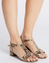 Marks and Spencer Leather Block Heel T-Bar Sandals