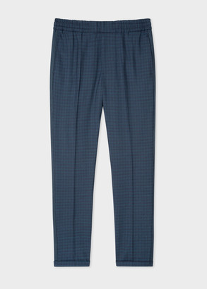Men's Blue Wool Check Drawstring Trousers