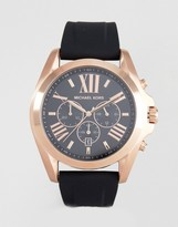 Michael Kors MK8559 Silicone Watch In Black/Rose Gold