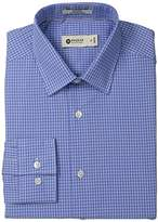 Haggar Men's Line Check Point Collar Fitted Long-Sleeve Dress Shirt