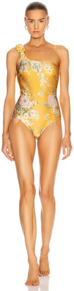 Zimmermann Amelie Bow Swimsuit in Amber Garden Floral   FWRD