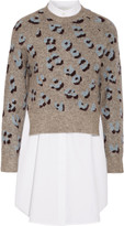 3.1 Phillip Lim Layered printed knitted and cotton sweater