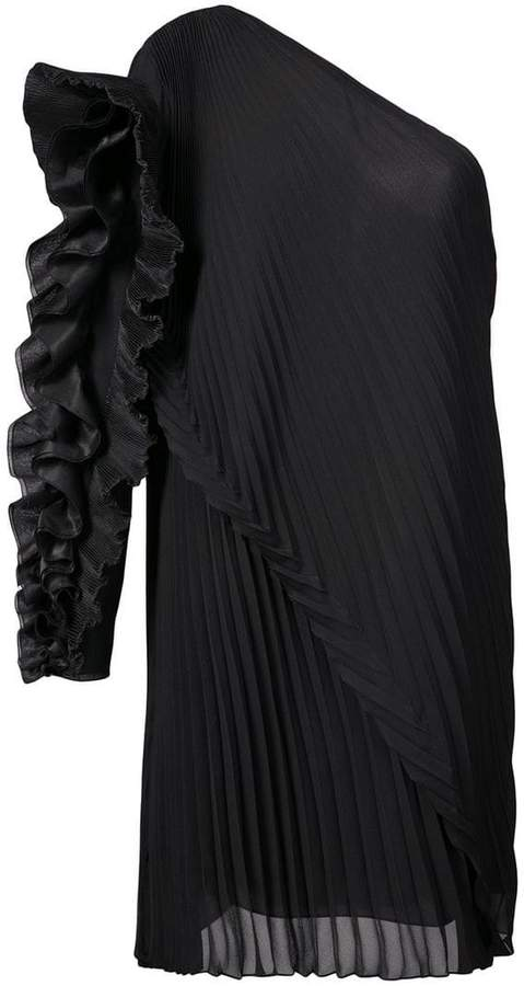 Givenchy one shoulder ruffle trim dress