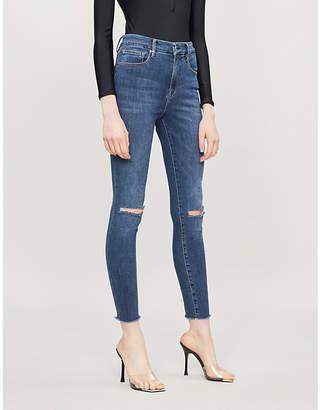 Good American Good Flare frayed-hem slim-fit high-rise jeans
