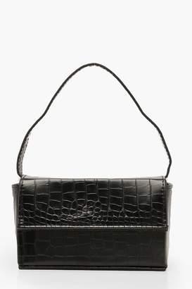 boohoo Croc Rectangle Box & Cross Body Strap Bag
