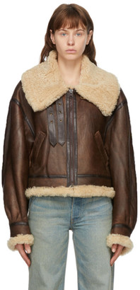 R 13 Brown Shearling Aviator Jacket