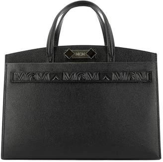MCM Logo Double Handle Tote Bag