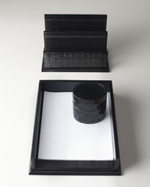 Horchow Black Woven Leather Pen/Pencil Cup