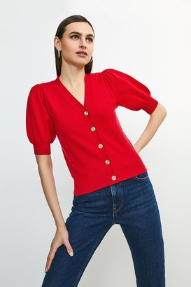 Karen Millen Short Puff Sleeve Knitted Cardigan