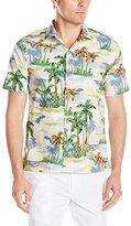 Caribbean Joe Men's Slim Fit Short Sleeve Scenic Palm Printed Cool Cotton Collared Hawaiian Shirt
