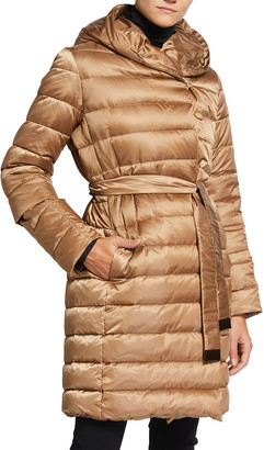 Max Mara Novef Reversible Channel-Quilt Down Coat, Brown