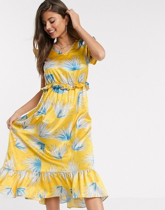 Liquorish midi dress in yellow and blue floral