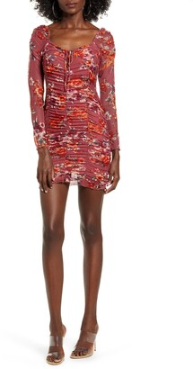 4SI3NNA the Label Harper Floral Ruched Long Sleeve Minidress