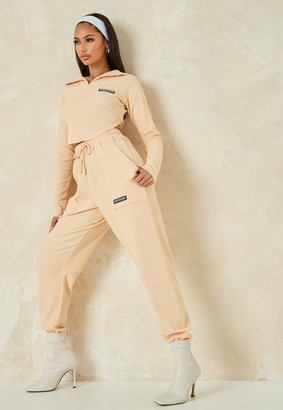 Missguided Stone Waffle Textured Joggers