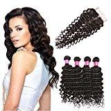 BHF HAIR Deep Wave Brazilian Hair 4 Bundles with Lace Closure(4x4) 8a Grade Virgin Human Hair Weave Natural Black Extensions 20 22 24 26+18