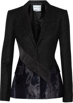 Prabal Gurung Velour-paneled wool-blend blazer