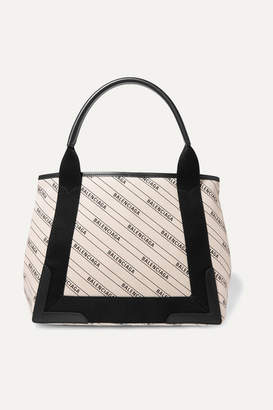 Balenciaga Cabas Small Leather-trimmed Canvas Tote - Ivory