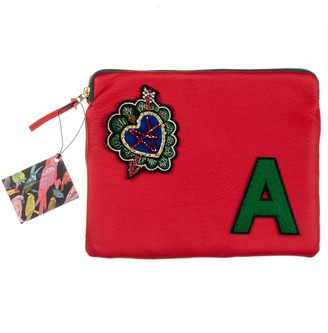 Laines London Embellished Arrow Heart Personalised Classic Leather Clutch Bag - Large - Red /Green