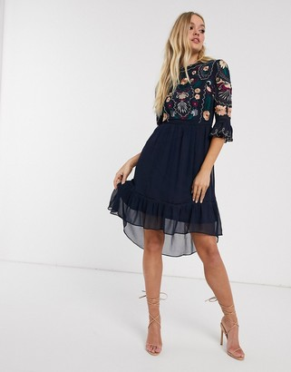 Frock and Frill 3/4 sleeve embroidered detail midi dress-Navy