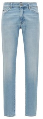 HUGO BOSS Regular-fit jeans in bleach-washed slub stretch denim