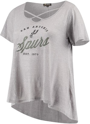 Women's Gray San Antonio Spurs Criss Cross Front Tri-Blend T-Shirt