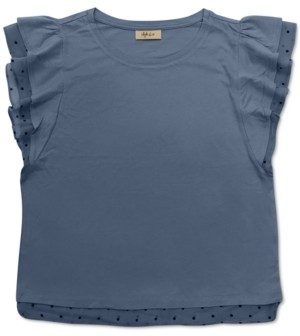 Style&Co. Style & Co Petite Dotted Mesh-Trim Top, Created for Macy's