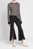 Sjyp Flared Jeans with Distressed Fringing