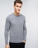 Tommy Hilfiger Jumper With Flag Logo In Grey Cotton