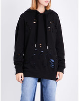 Mo&Co. Destroyed cotton-jersey hoody