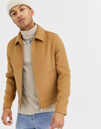 Asos Design DESIGN wool mix harrington jacket in camel-Tan