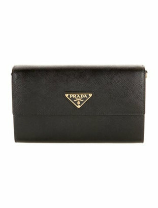 Prada Saffiano Wallet w/ Shoulder Strap w/ Tags Black