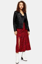 Topshop PETITE Red Spot Double Split Midi Skirt