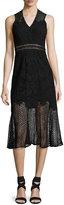 Jonathan Simkhai Multimedia Lace Trumpet Midi Dress, Black