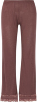 Eberjey Saskia Lace-trimmed Stretch-jersey Pajama Pants - Chocolate