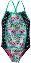 Speedo Girls 7-16 Diamond Geometric Splice One-Piece Swimsuit