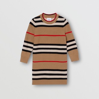 Burberry Icon Stripe Wool Cashmere Sweater Dress