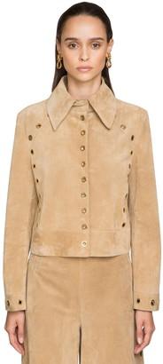 Alberta Ferretti Suede Jacket W/ Gold Ring Details