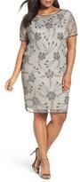 Pisarro Nights Plus Size Women's Embellished Floral Motif Cocktail Dress