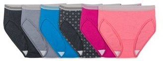 Fruit of the Loom Fit For Me By Fit for Me Women's Plus Heather Assorted Cotton Hi-Cut Underwear, 6 Pack