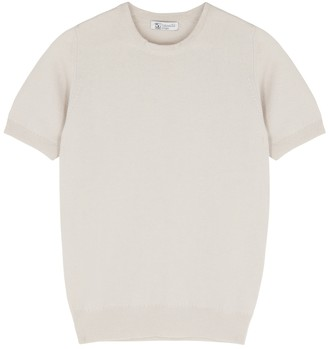 Johnstons of Elgin Grey fine-knit cashmere T-shirt