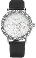SO&CO New York Women's 5216L.1 Madison Quartz Crystal Accent Dial Day and Date GMT Black Genuine Leather Strap Watch