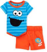 Children's Apparel Network Sesame Street Blue Cookie Monster Bodysuit & Shorts - Infant