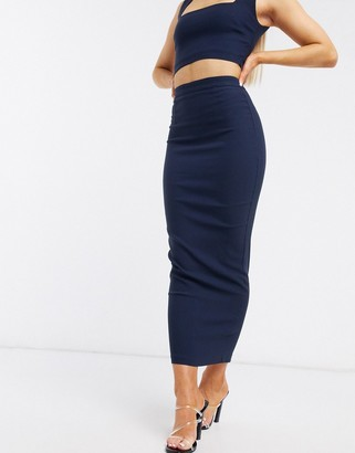 Vesper pencil skirt with zip detail co ord in navy