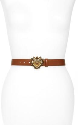 Dolce & Gabbana Devotion Logo Heart Buckle Leather Belt