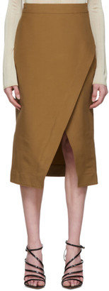 Victoria Victoria Beckham Tan Double Cloth Chino Wrap Skirt