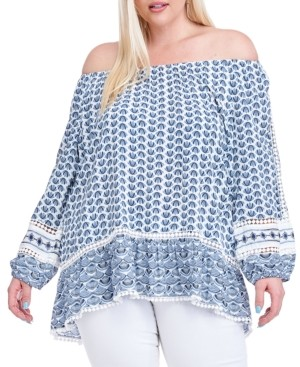 Fever Plus Size Abstract-Print Off-The-Shoulder Top