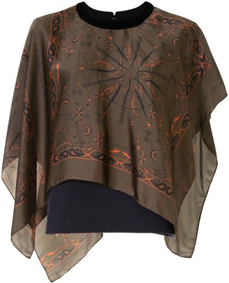 Sacai Mixed-Print Oversized Top
